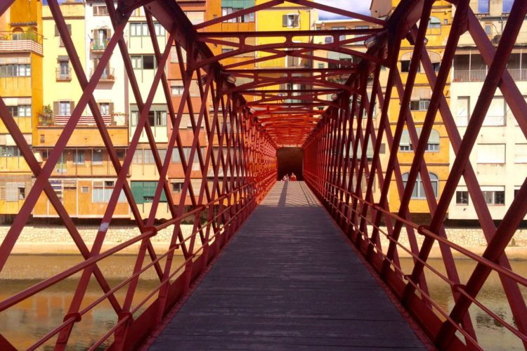 Red Iron-and-lattice Eiffel Bridge Over The Onyar River, Girona, Catalonia, Spain