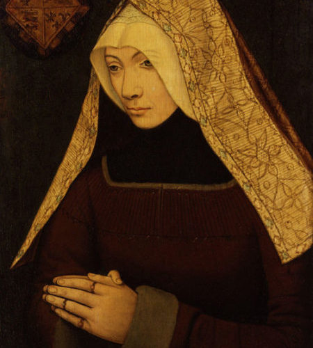 Portrait Of A Medieval Woman Wearing An Embroidered White Hood, And Formerly Thought To Be Lady Margaret Beaufort