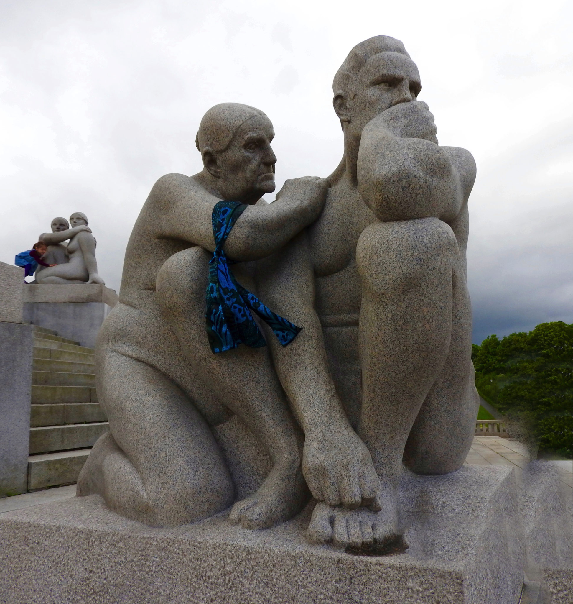 Large granite figures of a man and woman