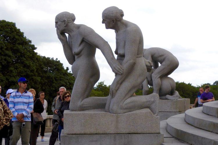 Granite Sculpture Of Two Older Women Vigeland Installation Frogner Park Oslo