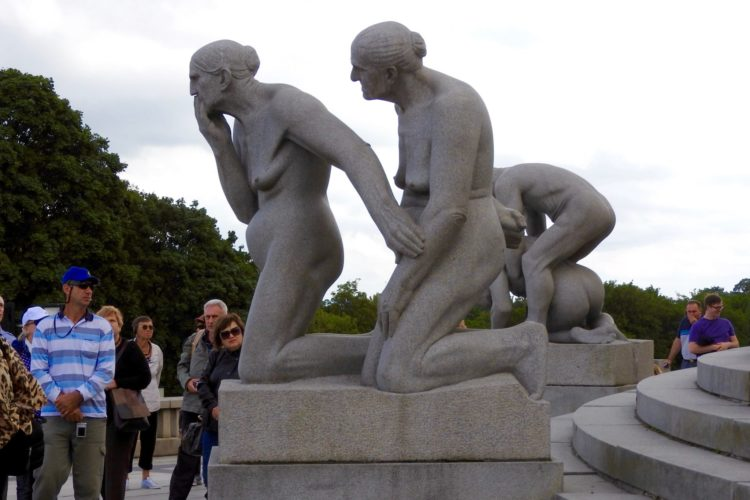 Granite Sculpture Of Two Older Women Vigeland Installation Frogner Park Oslo