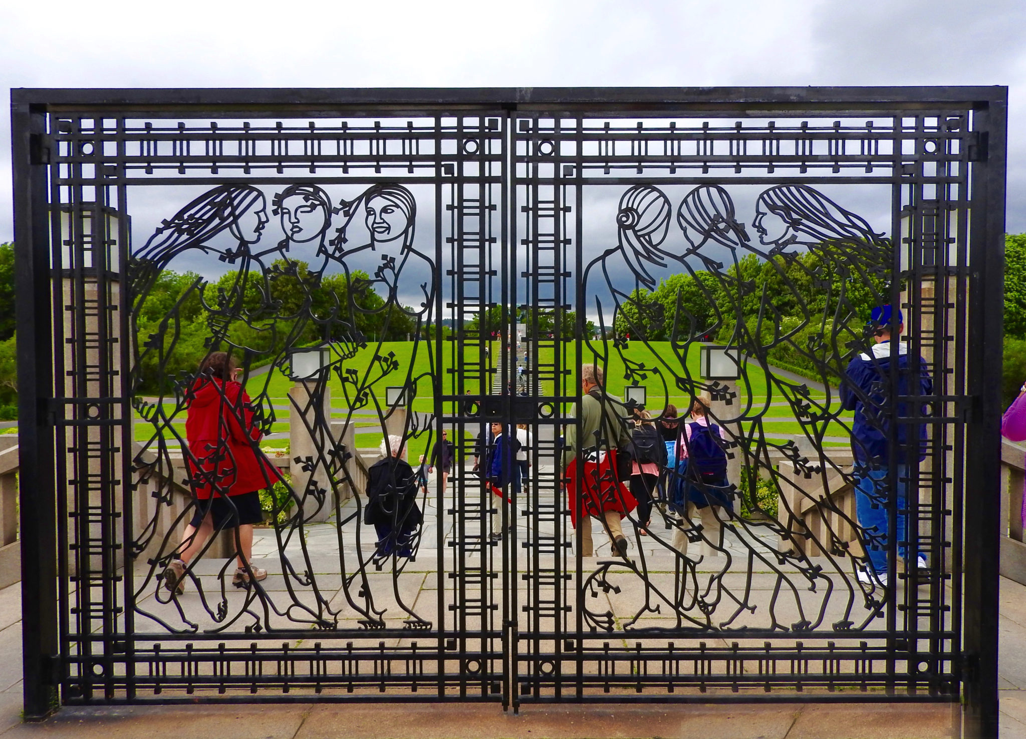 Iron gate with female figures at Frogner Park