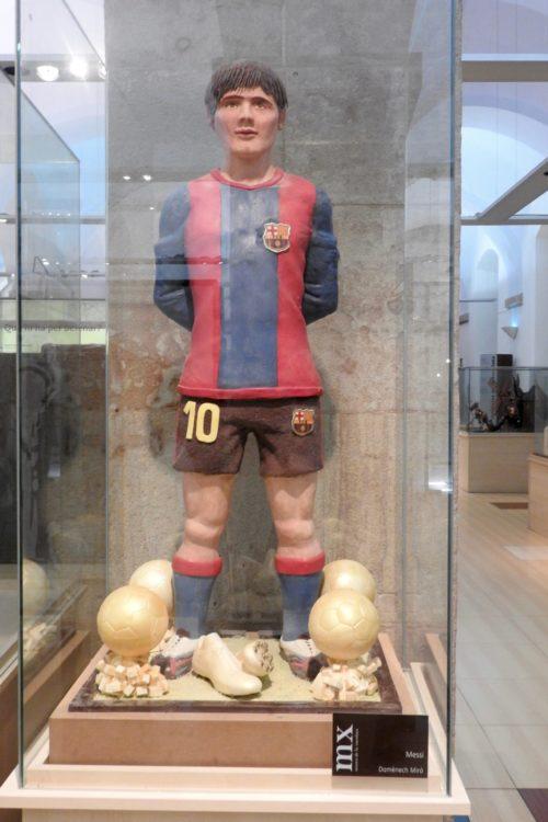 sculpture of Barcelona football player Chocolate Museum