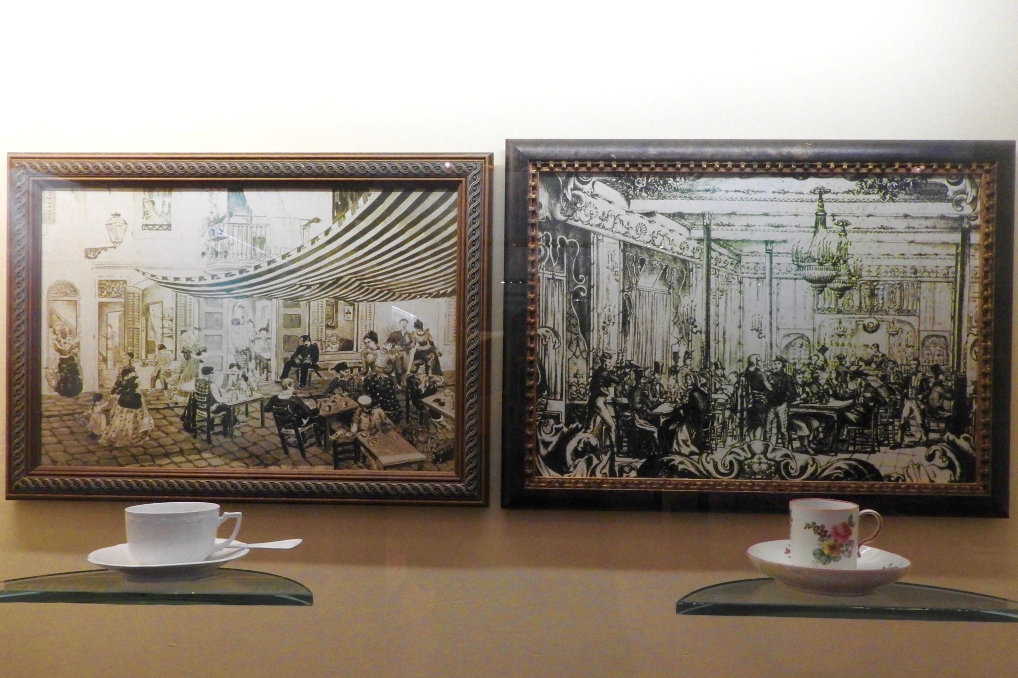 framed prints of cafe house scenes